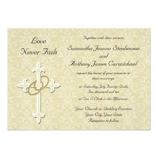 Christian Wording For Wedding Invitations: Golden Rings Christian Wedding Invitations