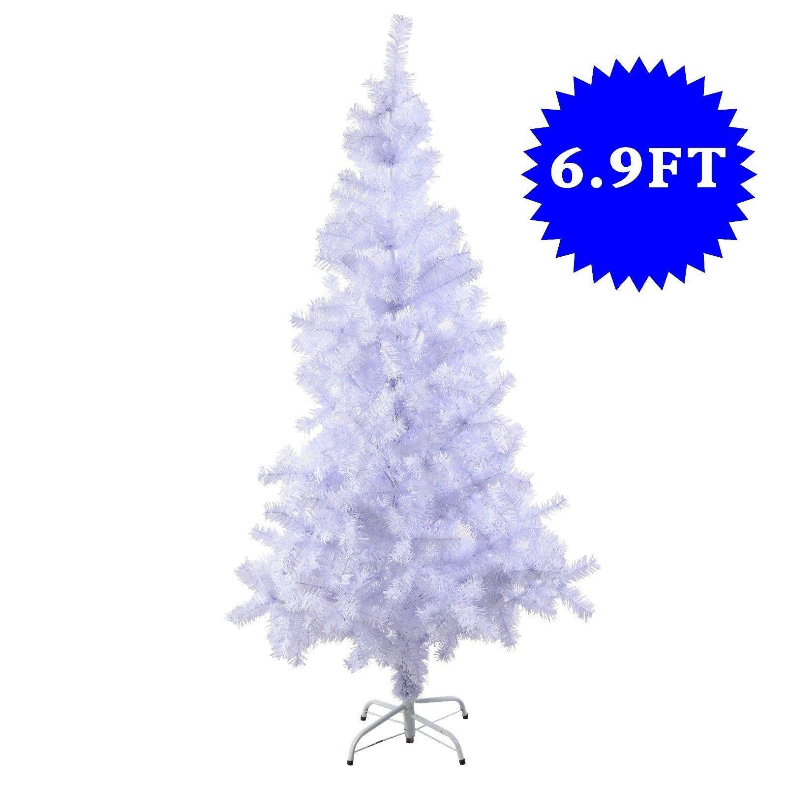 White 7 Ft Artificial PVC Christmas Tree w/Stand Holiday Season ...