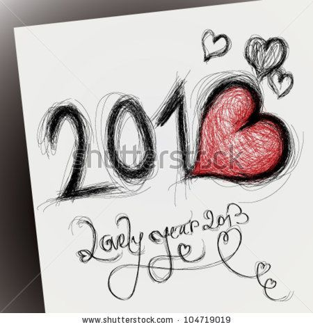lovely year 2013 happy new year card with heart