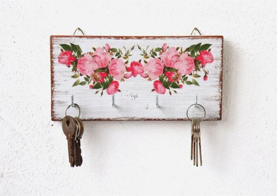 Wall White Wooden Key Holder Pink Roses Flowers Entrance Hall Wall