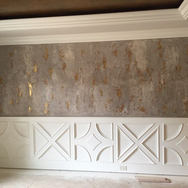 Modern masters venetian plaster on walls with gold foil Grey sponge painted walls