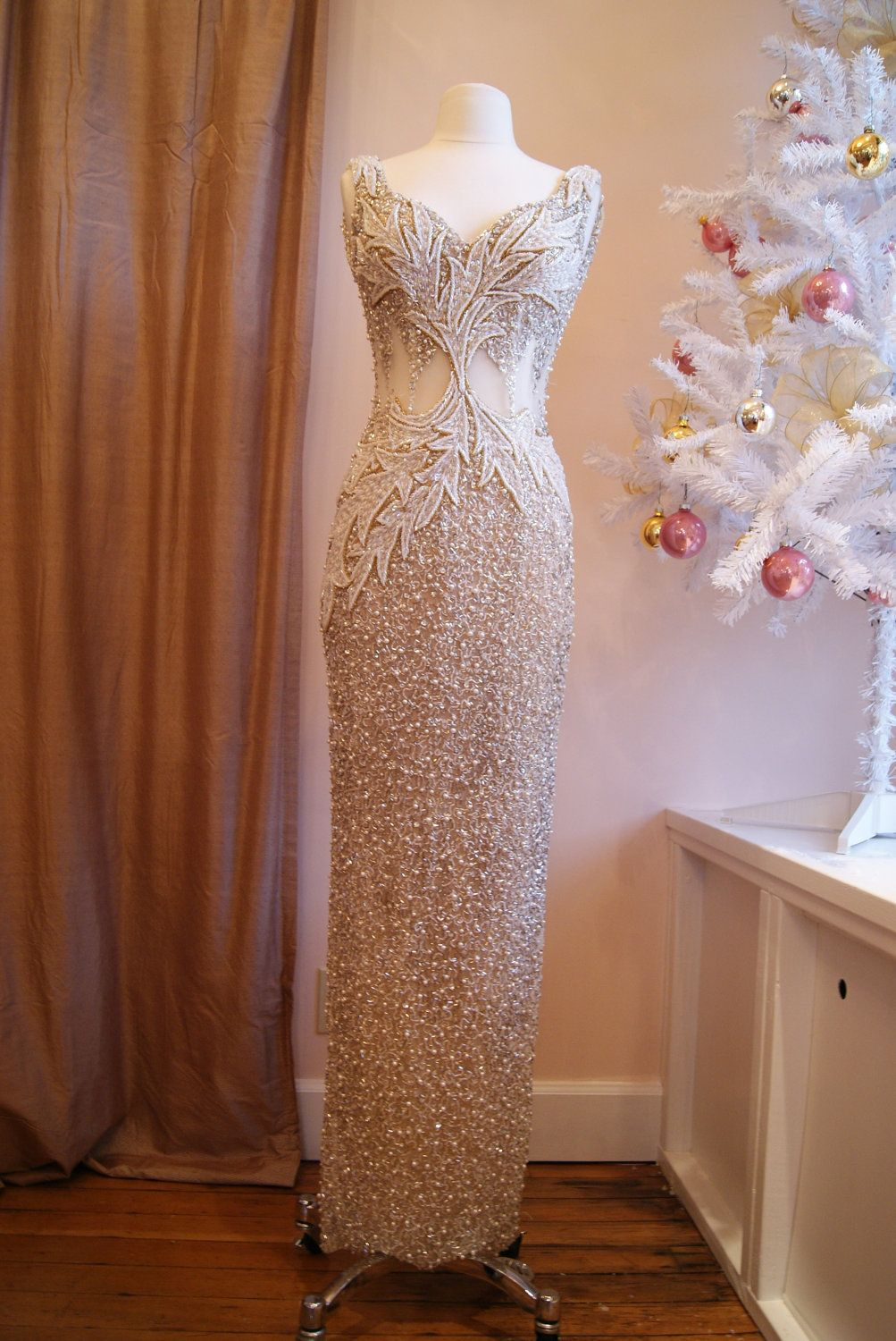 Vintage Bead and Sequin Gown with Illusion Bodice // Holiday Vintage Dress // Sequin and Beaded Dress by Claires Collection Size S. $598.00, via Etsy.