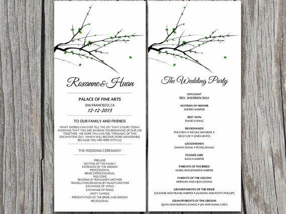 Winter Wedding Program Microsoft Word Template - DIY Moss Green - program templates word