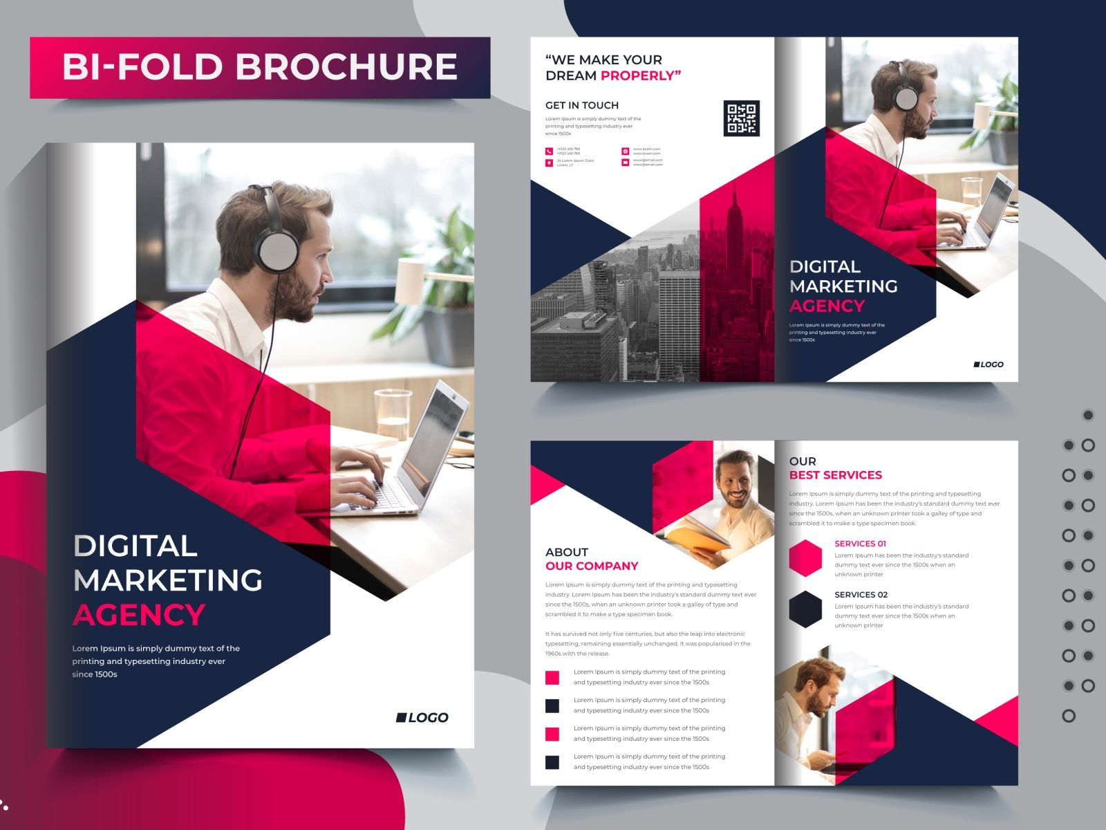 Bi Fold 4 Pages Corporate Business Brochure Template Design Bi Fold Brochure Brochure Design Template Business Brochure 4 to a page template