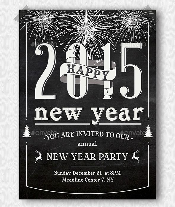 New Year Party Invitation - Download… | Chalkboard Flyer | Pinterest