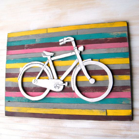 Wooden Bicycle Art Pallet Background Wall Decor by SlippinSouthern ...