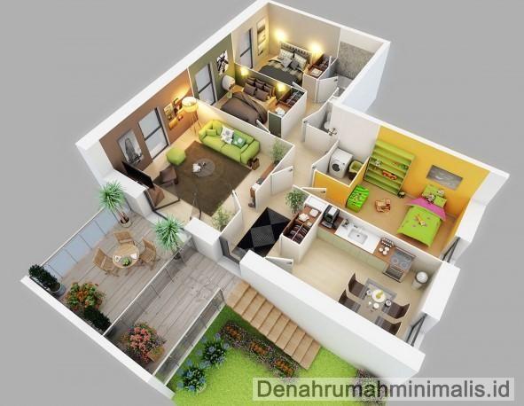 Denah Rumah Minimalis Sempit 3d 1 Lantai 3 Kamar Tidur Bedroom