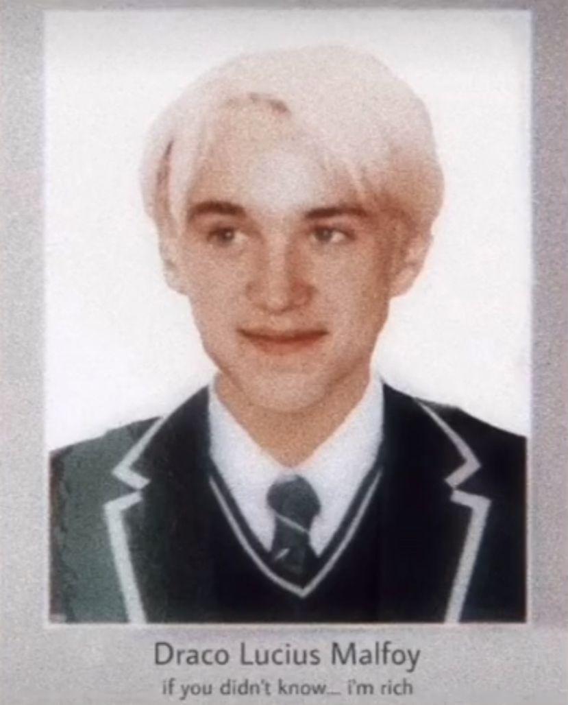Draco S Yearbook Photo In 2021 Draco Malfoy Harry Potter Draco Malfoy Malfoy