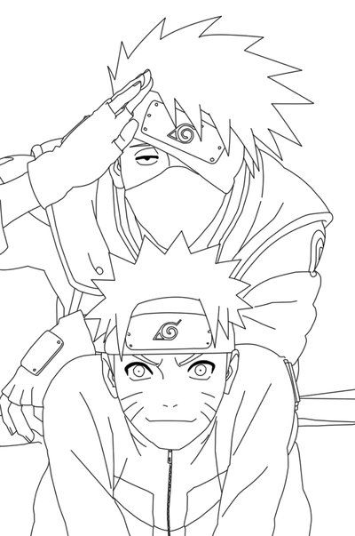 Naruto And Kakashi Lineart By Crypticriddlers On Deviantart