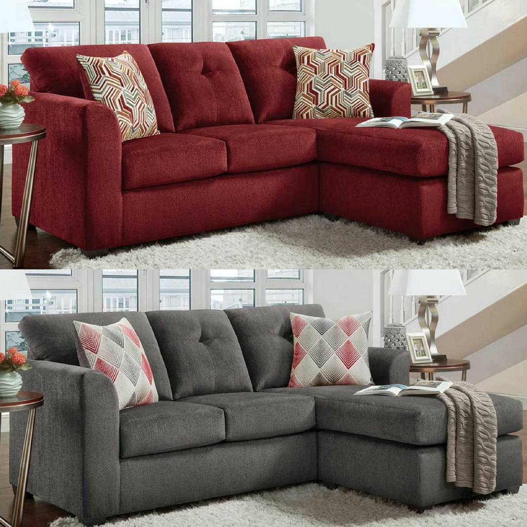Sit Back And Relax In This Comfortable Chaise Sofa Shown In A Beautiful And Durable Burgundy Or Gra Couches For Small Spaces Burgundy Sofas Comfortable Chaise