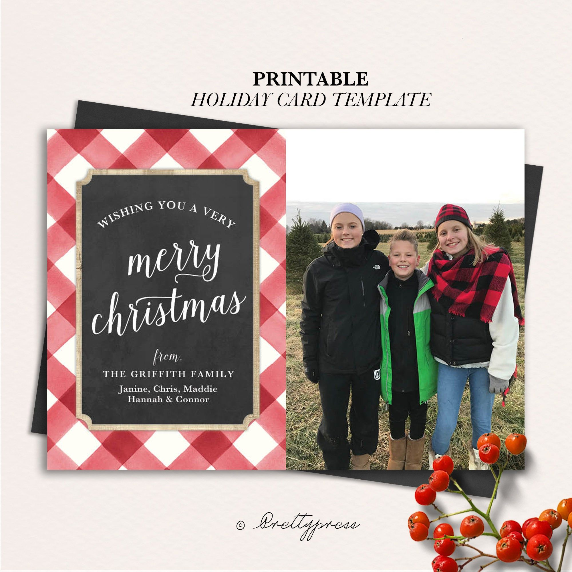 Christmas Photo Card Template Buffalo Check Christmas Card Etsy Christmas Photo Card Template Photo Card Template Holiday Card Template