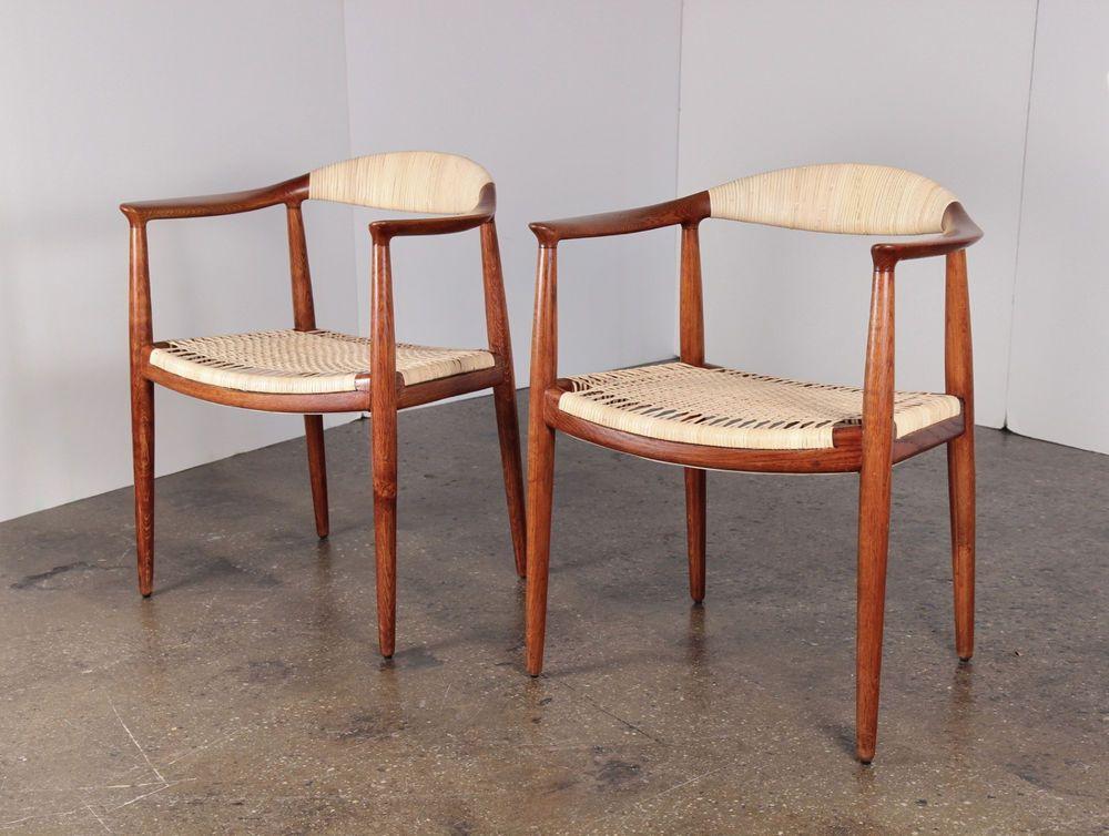 Early 1950s Cane Round Chairs by Hans Wegner Johannes Hansen Danish Modern
