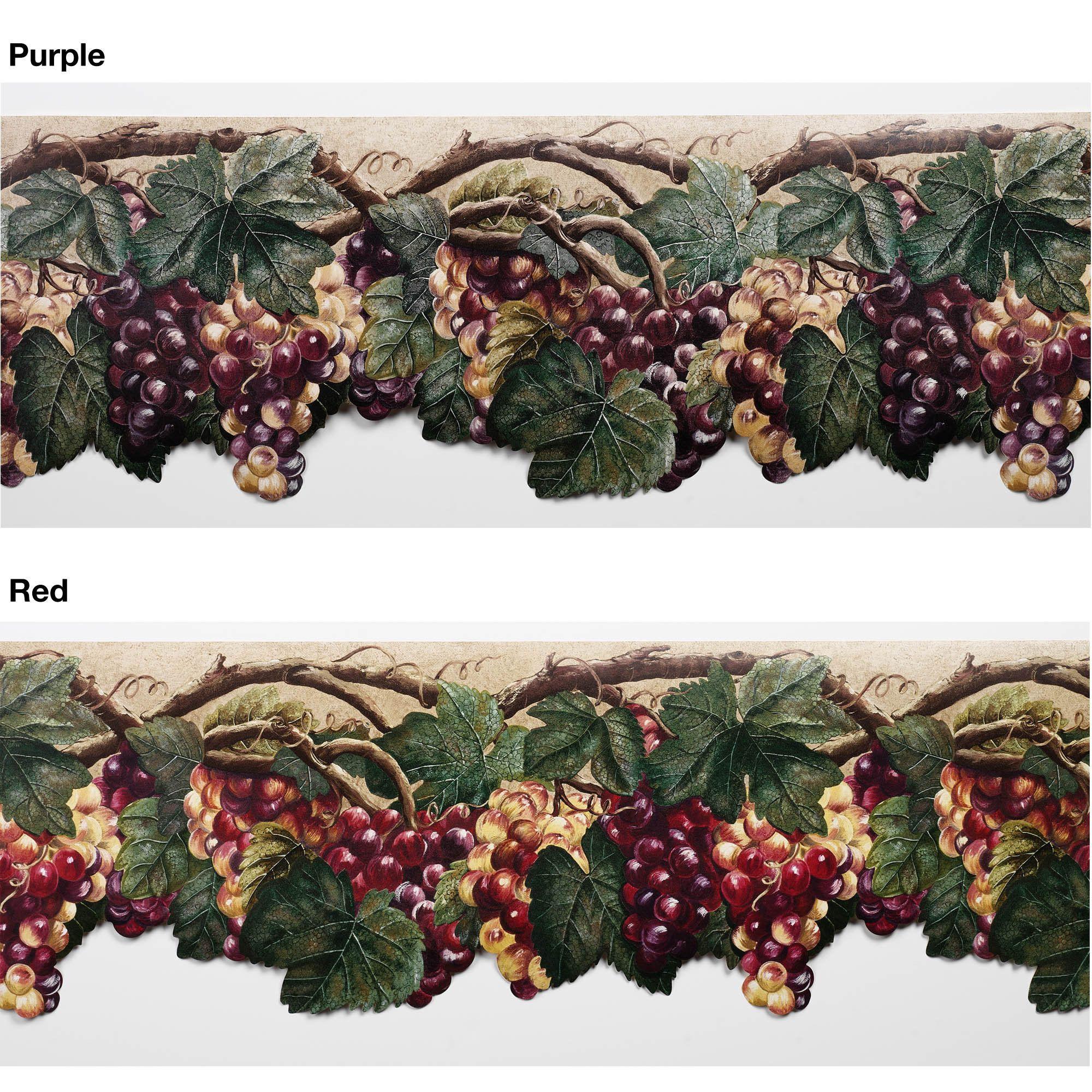 Wallpaper Border Tuscan Grape Leaves Purple Grapes Grape Wallpaper Fruit Wallpaper Grape Decor