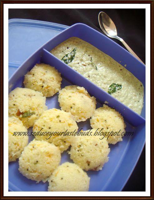 Kids Lunch Box Series # 9  Carrot Mini Rava Idli and Chutney - Seduce Your Tastebuds...