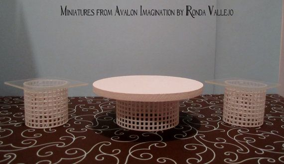 1:12th Scale Miniature dollhouse Set of three tables - coffee table and two end tables in white and acrylic, hand made