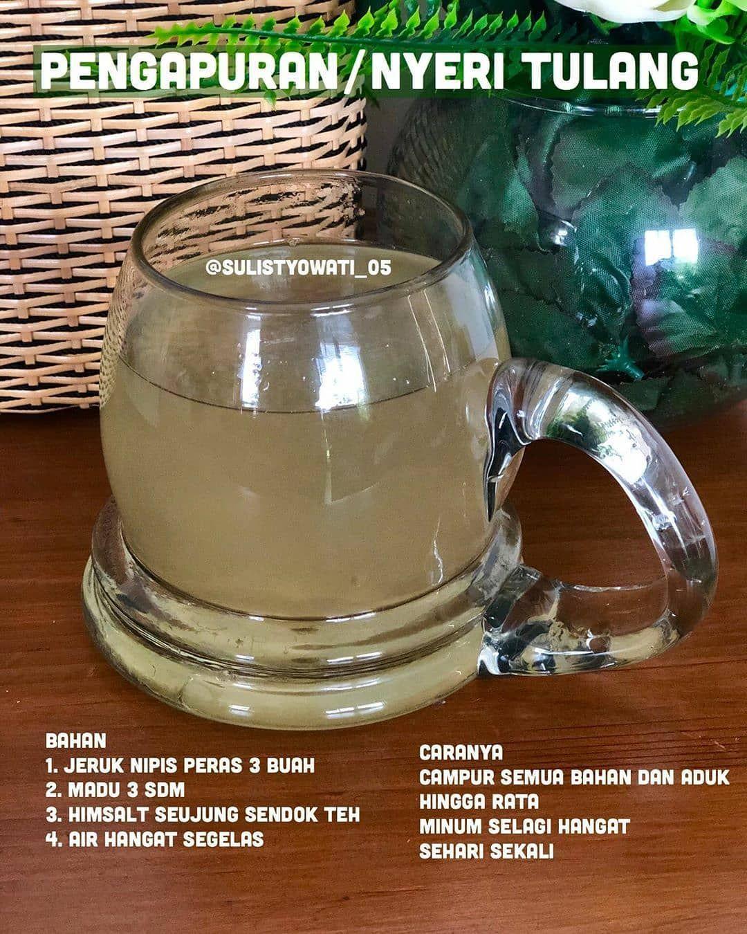 Resep Sehat Jsr Di Instagram Reposted From Sulistyowati 05 Get Regrann Minuman Untuk Pengapuran Nyeri Tulang Resep Sehat Minuman Minuman Detoks
