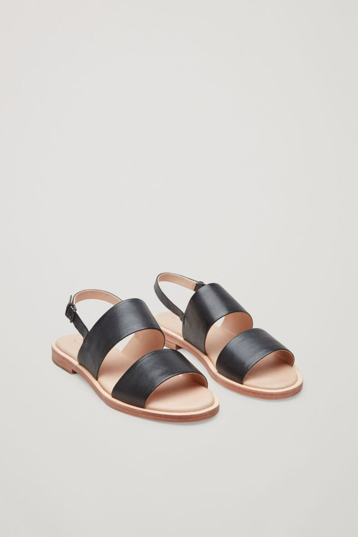 Cos Leather Strap Sandals In Black Leather Strap Sandals Strap Sandals Flat Hiking Shoes Women