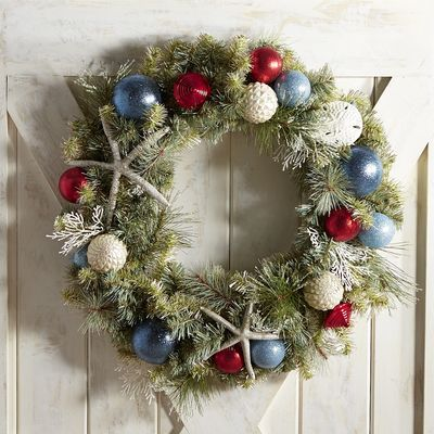 Oversized Pre Lit Coastal 28 Wreath Coastal Christmas Decor Christmas Decorations Christmas Wreaths Diy