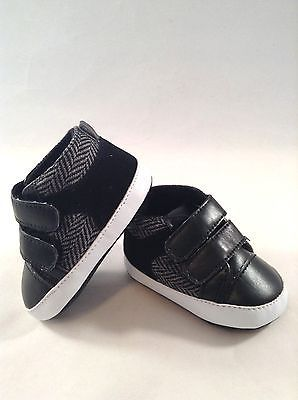 Boys Infant Dress Crib Shoes- Baby Sneaker Tennis Shoes size 1-4 Black f96820beeeef