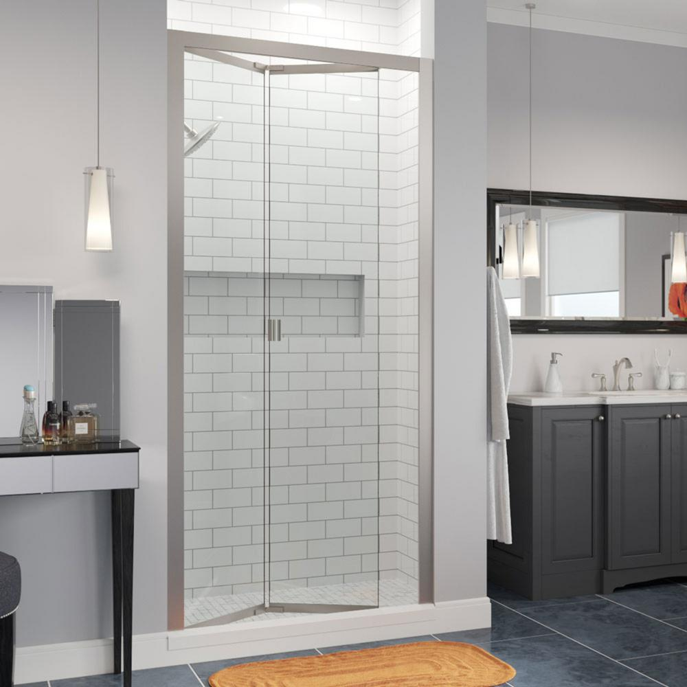Basco Infinity 35 In X 67 In Semi Frameless Bi Fold Shower Door