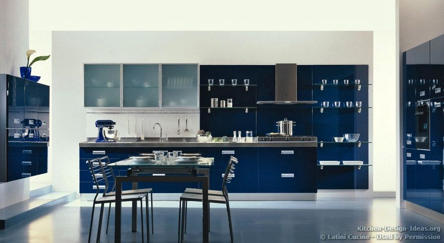 #Kitchen Idea Of The Day: A Modern Luxury Kitchen With Navy Blue Cabinets  And Open Glass Shelves. Latini Cucine.