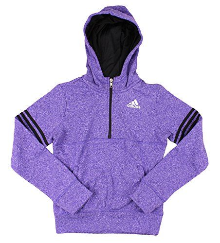 Adidas Youth Big Girls Fleece Quarter Zip Pullover Hoodie *** You can find more details at