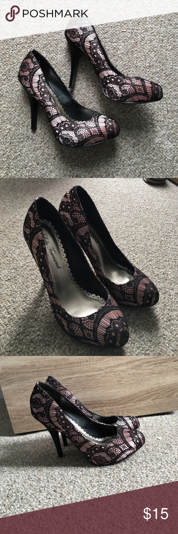 Pink and black lace pumps Thin black heal. Never worn Shoes Heels