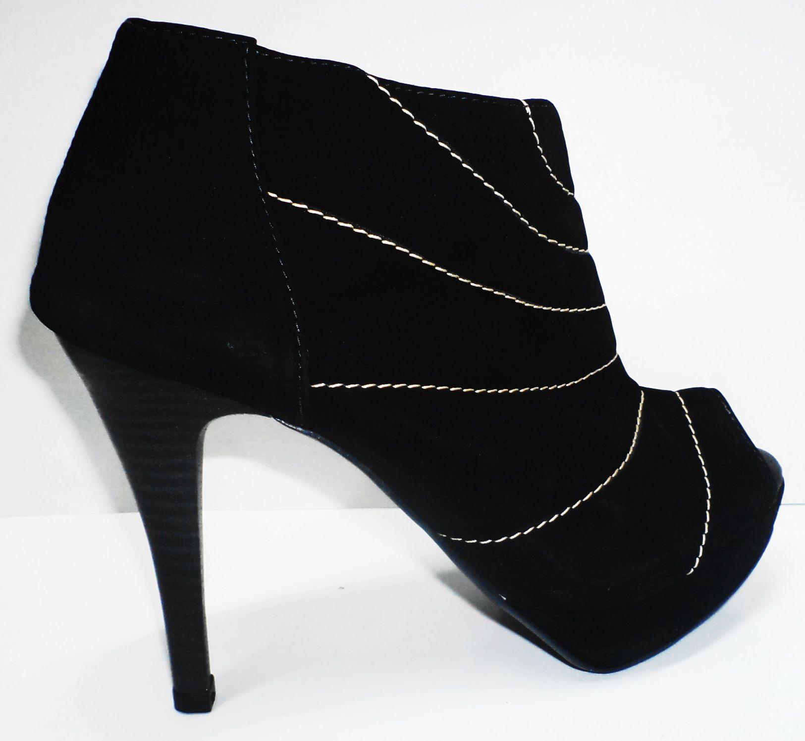Ankle Boot Plataforma Alta Preta Pespontada Gata&Sapato