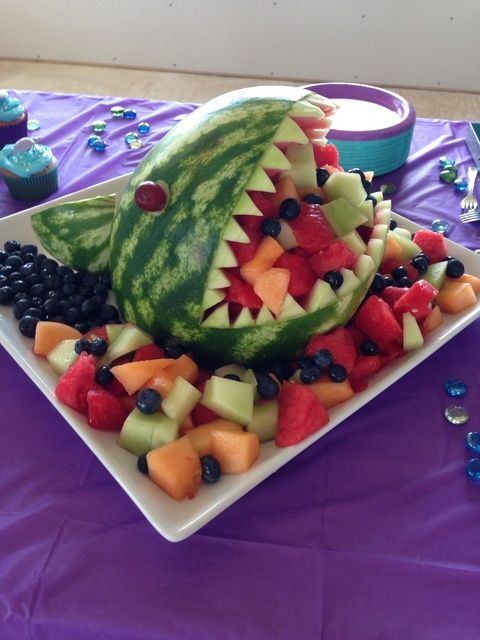 Shark fruit salad at a Little Mermaid Birthday Party!  See more party ideas at CatchMyParty.com!