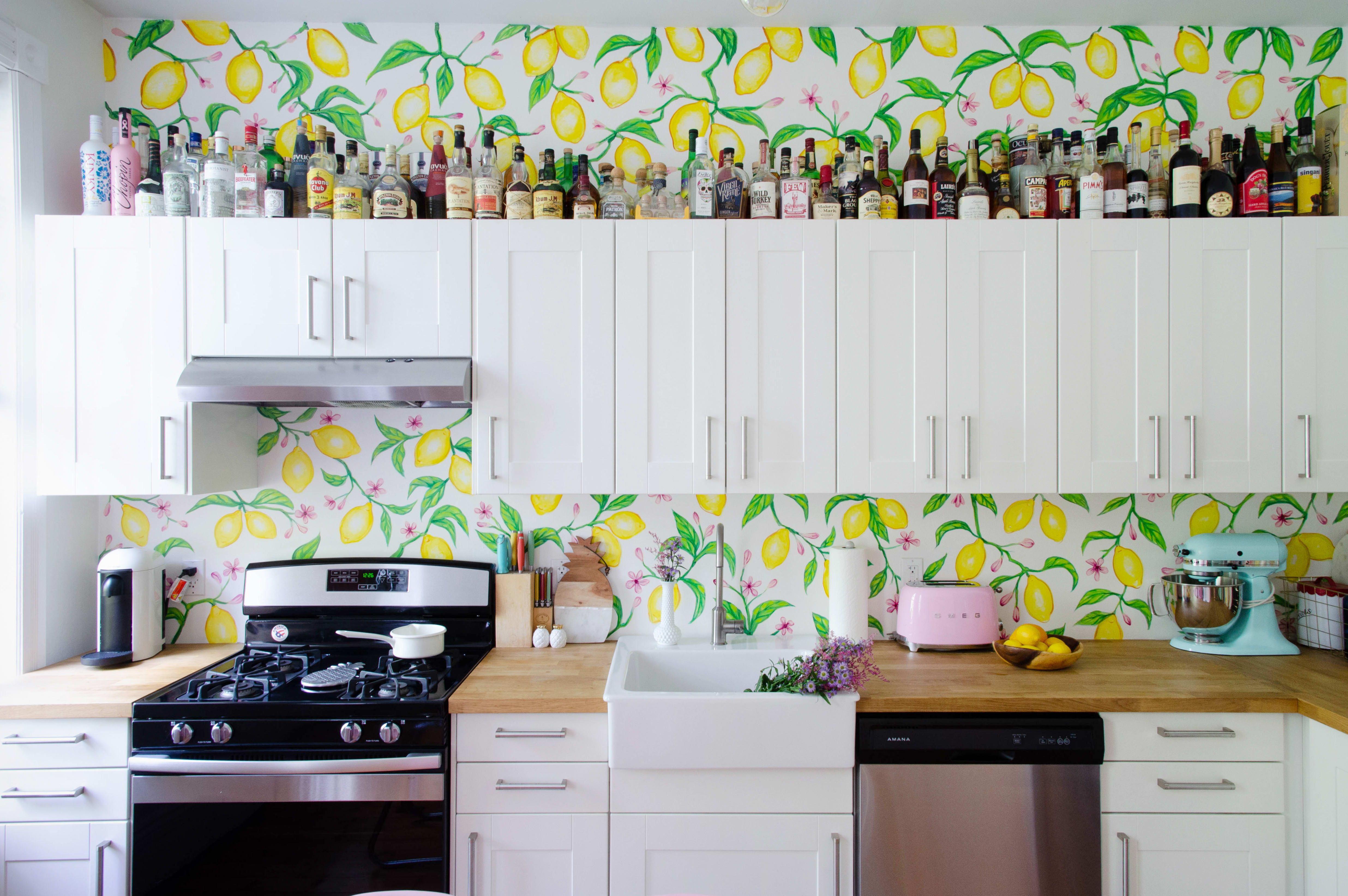 A Cocktail Blogger S Palm Springs Inspired New Jersey Home Kitchen And Bath Glass Cabinet Doors House Colors