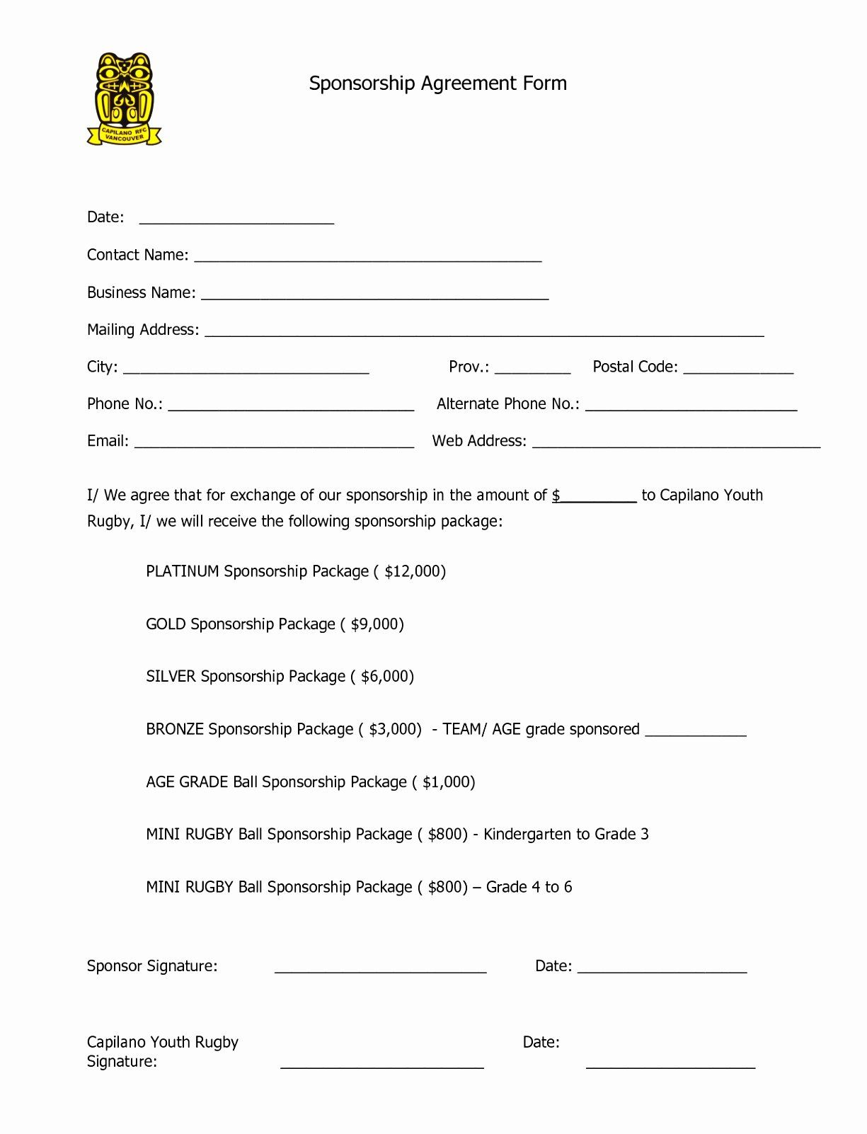 Simple Sponsorship Agreement Template In 2020 Sponsorship Form