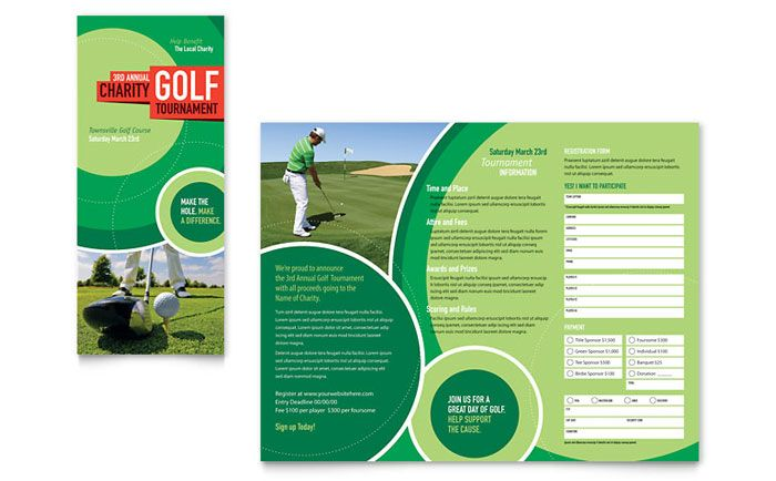 Golf Tournament Tri Fold Brochure Design Template by StockLayouts - golf tournament brochure