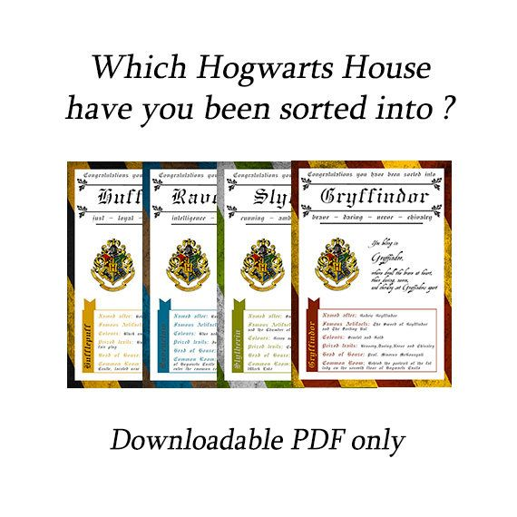 House Crest Certificates Sorting Hat Certificates Harry Potter
