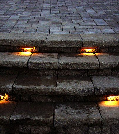 like the look of the over hanging stone stones with lights