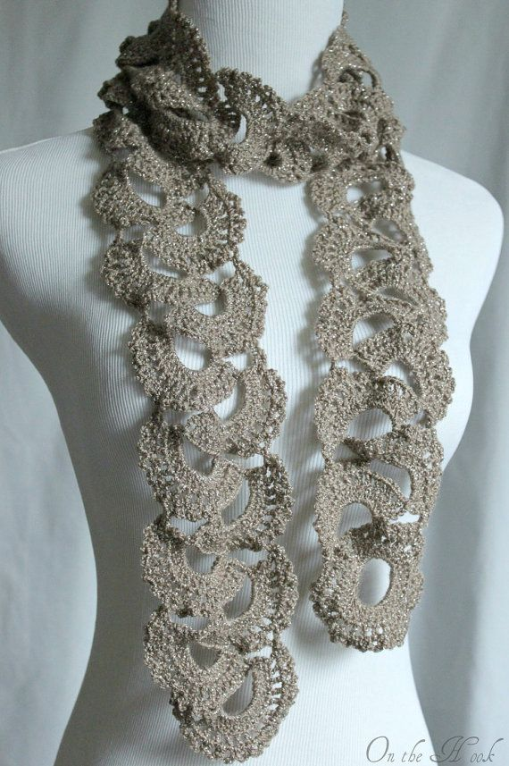Crochet Scarf Queen Annes Lace Scarf Silver Taupe | Cute | Pinterest ...