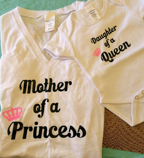 Mother Of Princess Mom Tee Daughter Of Queen Baby Girl Onesie Matching Outfits