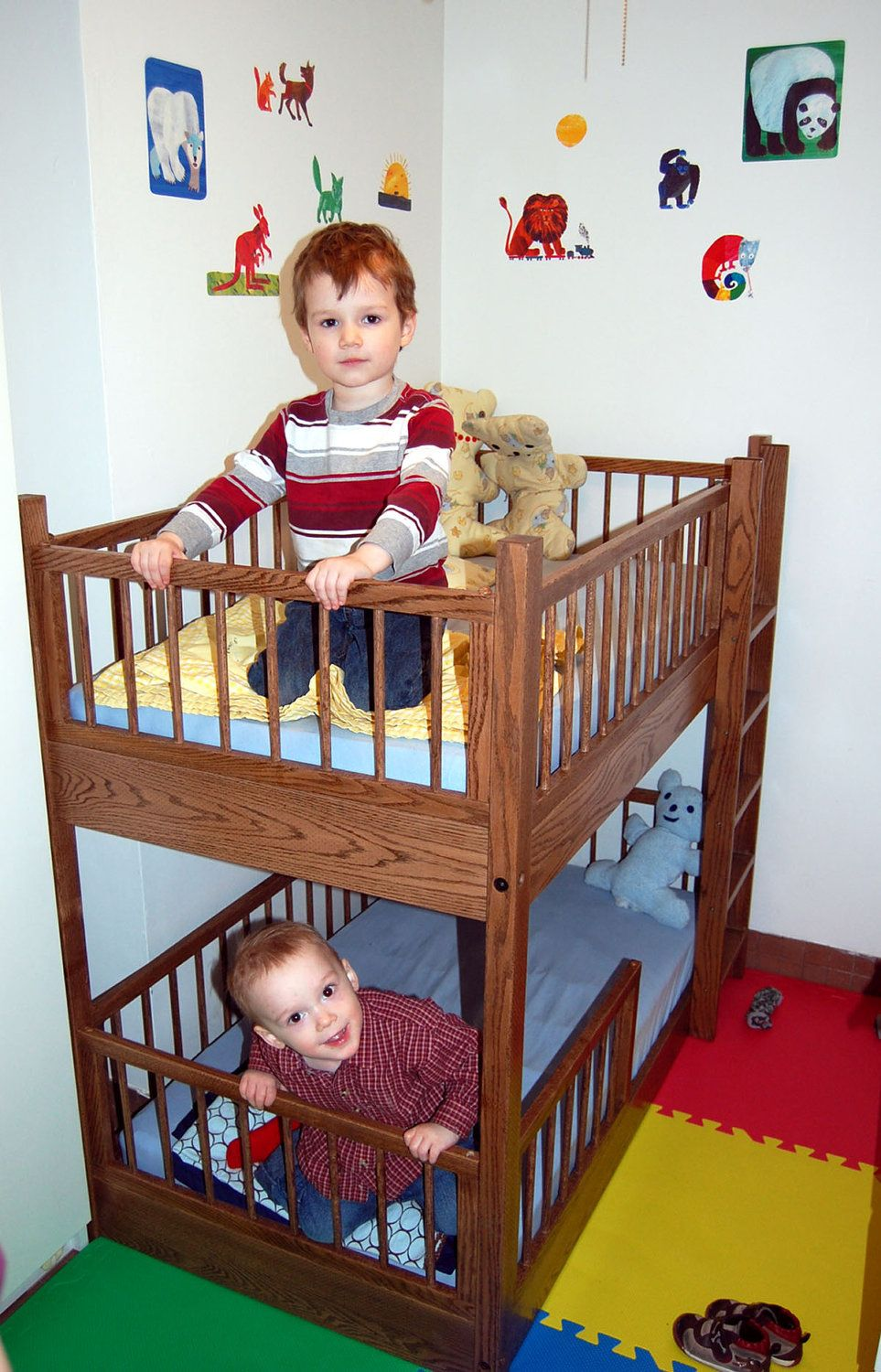 Small Bunk Bed In Oak 1 550 00 Via Etsy Toddler Bunk Beds