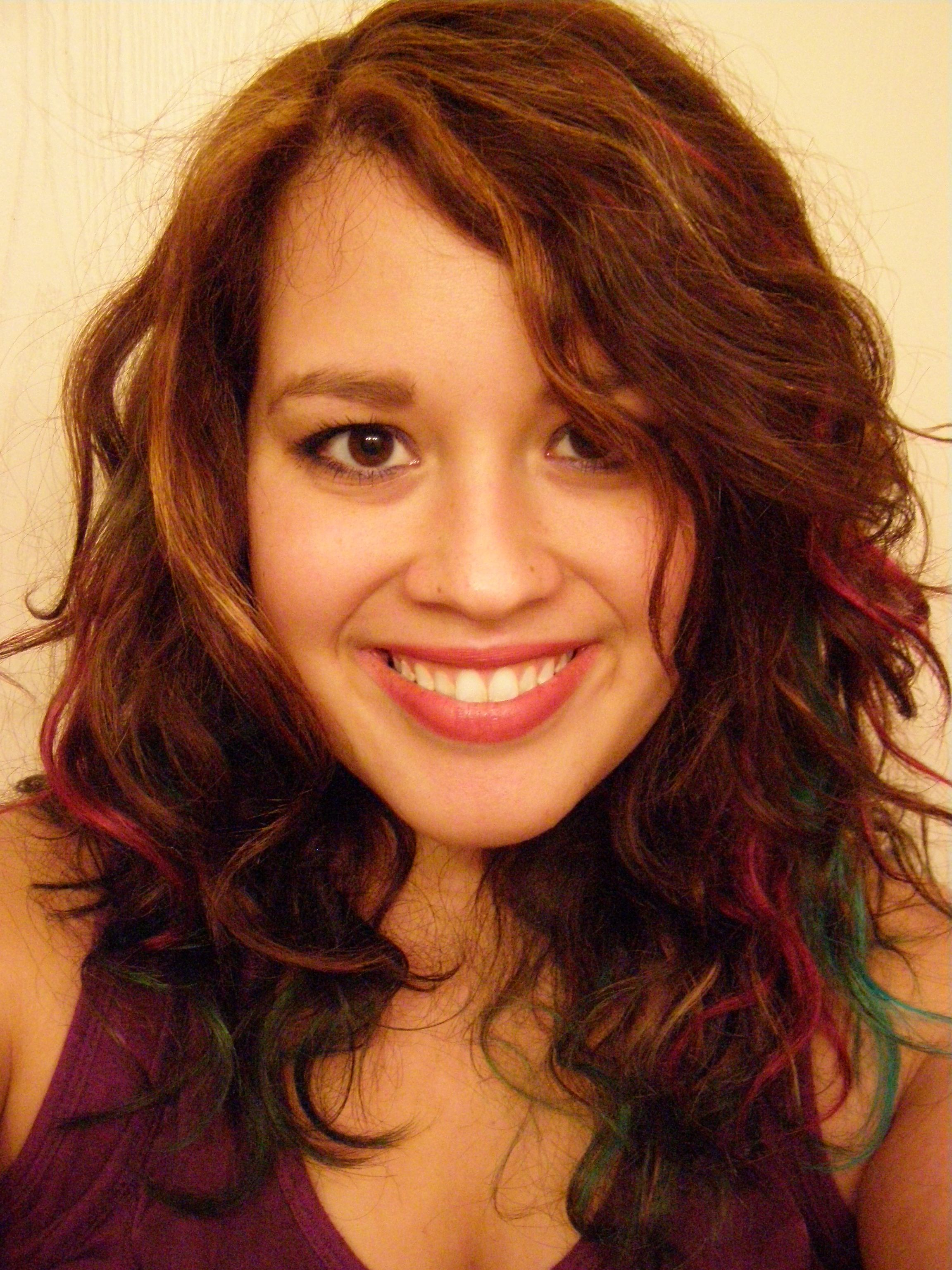 Colorful Curly Hair Turquiose Pink And Purple Manic Panic Hair