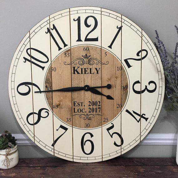 28 Inch Wooden Farmhouse Clock Arabic Numbers Rustic Wall Etsy In 2020 Rustic Wall Clocks Large Wall Clock Farmhouse Wall Clocks