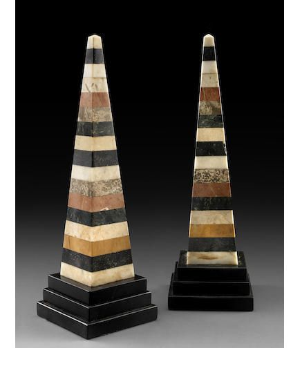 A Pair Of Malachite Marble Obelisks With Applied Ormolu Decorative Elements In The Neoclassical Style Some Maidens With Flowers On Art Decor Antiques Obelisk
