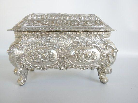 Ingenious Antique French Art Nouveau Jewelry Flower Trinket Box Pewter Dressing Table Antiques Art Nouveau