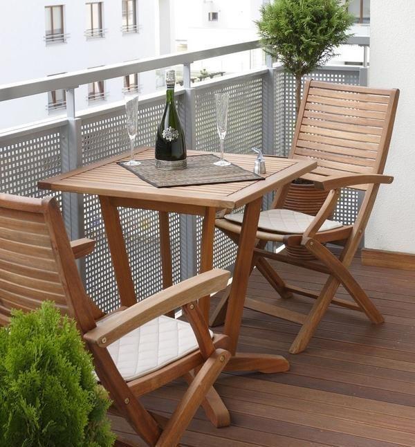 Balcón Jardín Muebles Plegables: Sichtschutz Ideen Geländer Metallgitter Holzmöbel