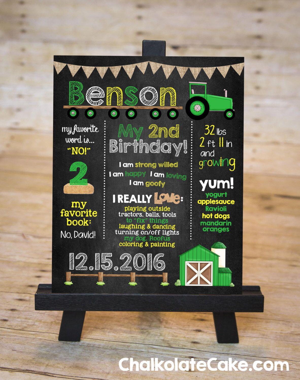 GREEN TRACTOR Chalkboard Sign Tractor Birthday Board Barn Yard Party Photo