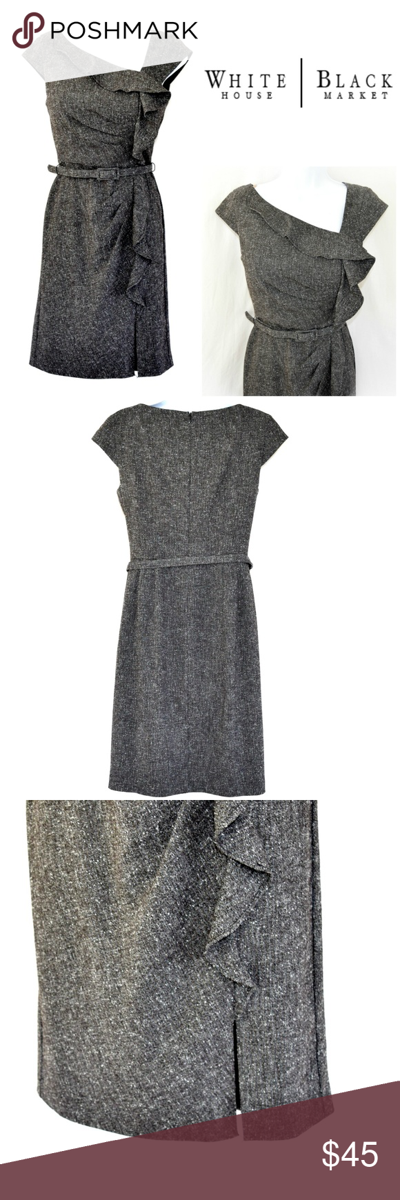 """WHBM Tweed Belted Ruffle Career Dress This sleek dark grey / black career dress brings the sexy chic of Mad Men to mind. Asymmetric neckline. Ruffle at neck drapes down to hem. Belted waist. Side pleated torso. Hidden back zipper. Cap sleeves. Front slit.   Approx Lay Flat MMs. Length 37"""" Waist 14"""" Pit to Pit 17"""" White House Black Market Dresses"""