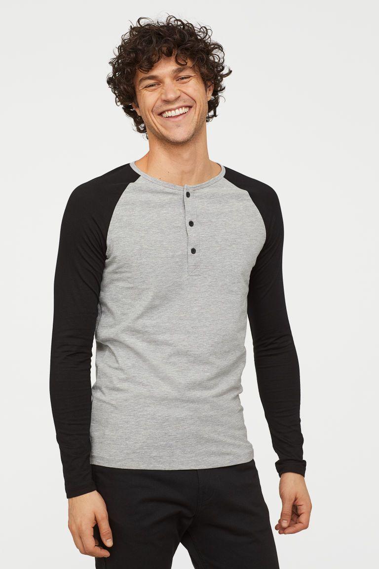 SikSilk Long Sleeve Grandad Collar Gym Tee Urban Green /& Black