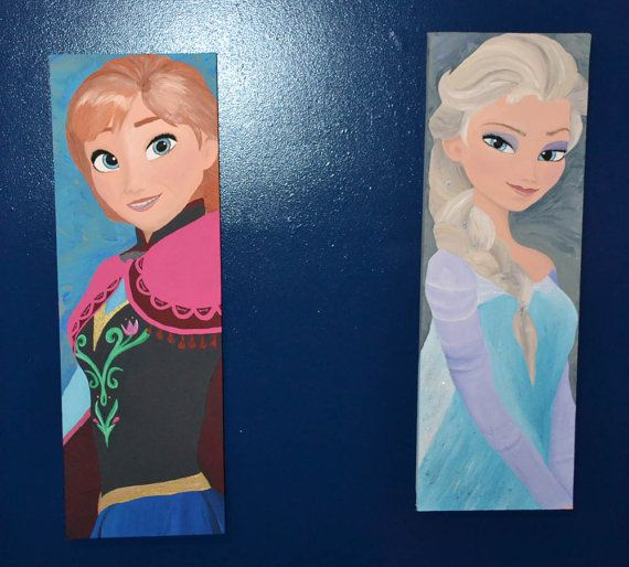 Frozen Inspired 2 Canvas Painting Set Princess Sisters Etsy Canvas Painting Frozen Painting Disney Paintings