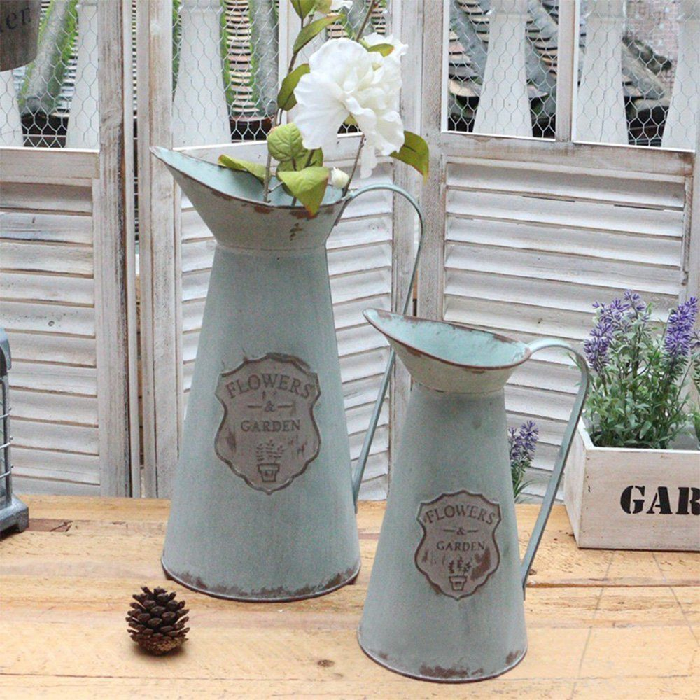 Apsoonsell Decorative Vintage Metal Pitcher Flower Vase Rustic Home Decor S L Set Hurry Check Out This Grea Rustic Garden Decor Flower Vases Vases Decor