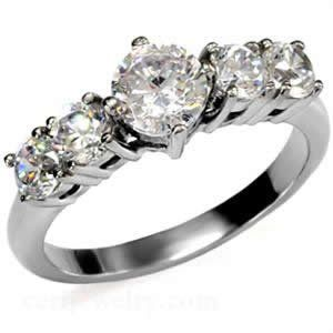 Stainless Steel CZ Round Engagement Ring Size 5/6/7/8/9/10 (bestseller)