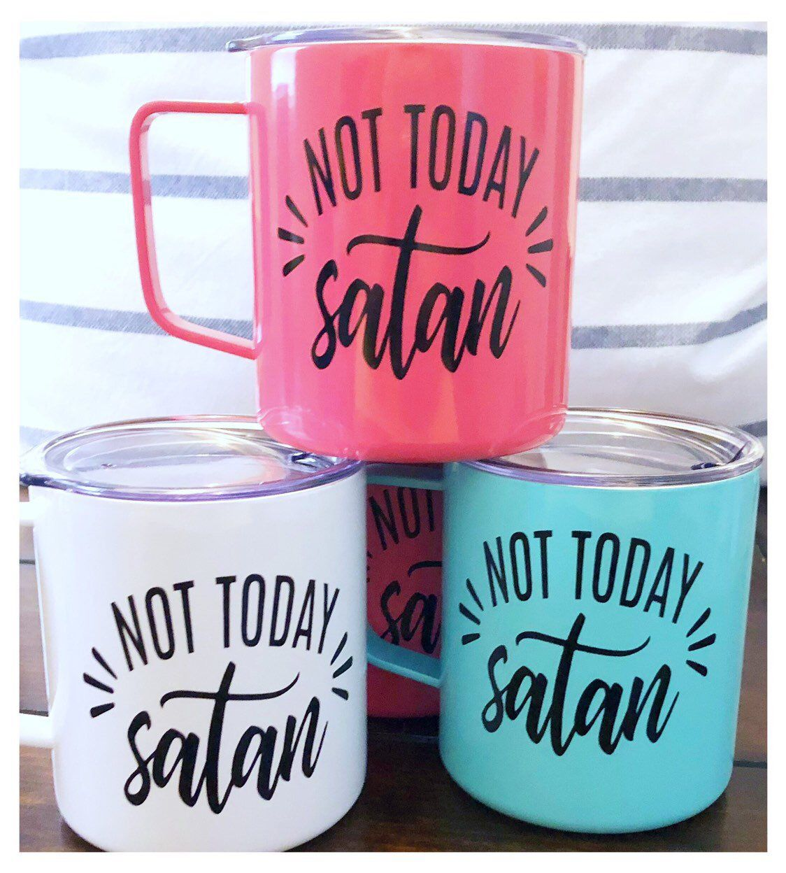 Not Today Satan Stainless Steel Coffee Mug with Splash Lid