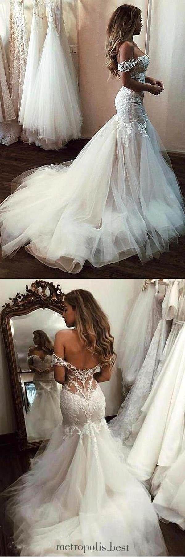 Schulterfreies Meerjungfrau-Brautkleid mit Spitze, langes Tüll-Brautkleid mit Schleppe ETH12376